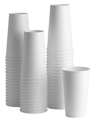 50 Ct. 8 Oz. Eco Friendly White Paper Hot Tea Coffee Cups Disposable No Lids 4