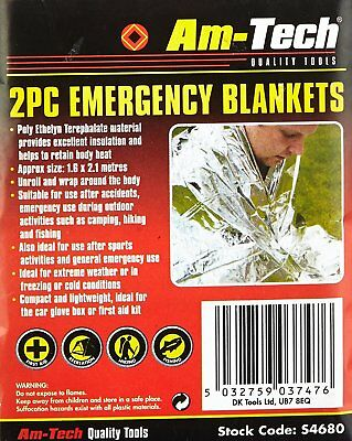 Premium Emergency Blanket Thermal First Aid Survival Foil Waterproof Rescue Kit