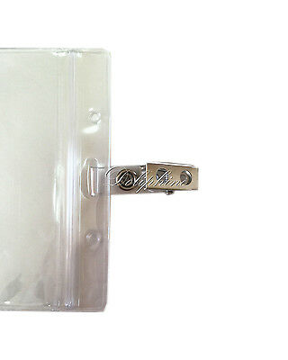 d98a7eb2311 ... Wholesale Clear Plastic Horizontal Name Tag ID Card Holder Badge with  hook Clip 3