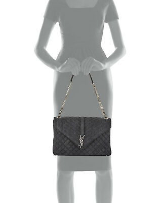 cde1ddd04225 ... Auth New Women Yves Saint Laurent Monogram Large Chain Tri Quilt Kate  Bag purse
