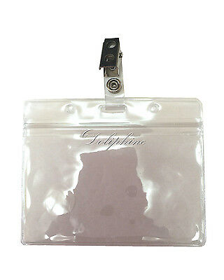 1 of 4 wholesale clear plastic horizontal name tag id card holder badge with hook clip - Plastic Id Card Holder
