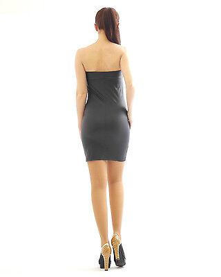 Kleid Mini Minikleid elegant Glanz Matt wie Kunstleder figurbetont Lack Optik. 4