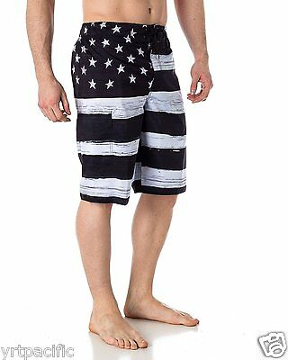 32593f9282 ... MEN'S American FLAG SWIM TRUNK BOARD SHORTS Black & White OLD GLORY ...