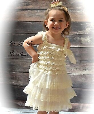 481876de85e ... Girls Ivory Lace Dress - Country Flower Girl Dress - Rustic Baby  Wedding Dresses 3