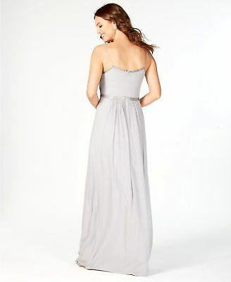 Nwt $549 Adrianna Papell Women'S Gray Sequined Beaded Chiffon Gown Dress Size 6 2