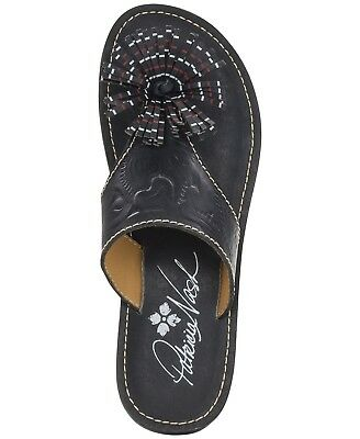 $99 New Patricia Nash Womens Franca Black leather thong Sandals Shoes 7 7.5 8