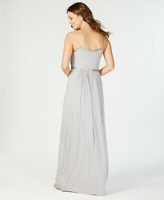 $395 Adrianna Papell Womens Gray Bead Sequin Embellished Long Gown Dress Size 14 2