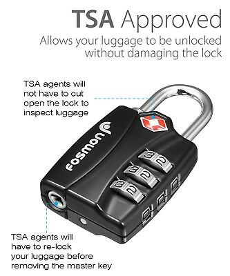 3xTSA Approve 3 Digit Combination Travel Suitcase Luggage Bag Lock Padlock Reset