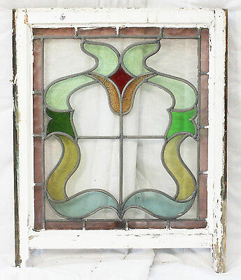 Antique Stained Glass Window Eight colors of Glass Fantastic Floral       (2592) 4