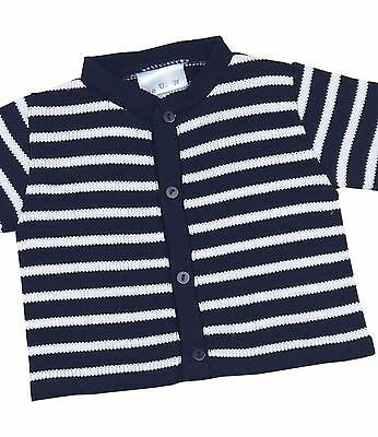 BabyPrem Baby Boys Blue & White Striped Knitted Cardigan 0 - 12 months