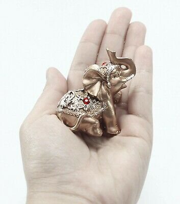 Set of 6 Pinky Rose Gold Lucky Elephants Statues Feng Shui Figurine Home Decor 5