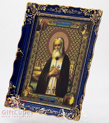 Porcelain gzhel decal Icon of Saint Seraphim of Sarov Икона Серафим Саровский