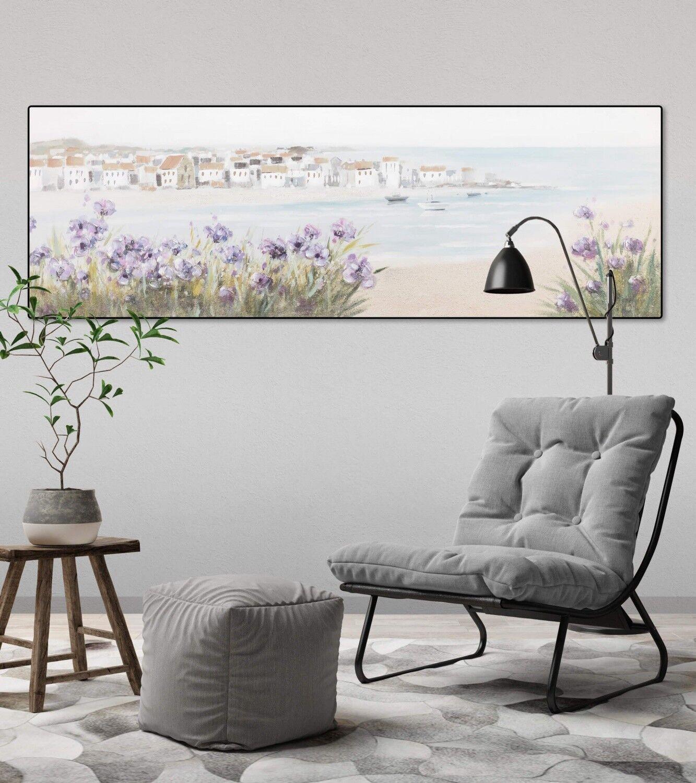 Acryl Gemälde 'MEDITERRANER TRAUM' | HANDGEMALT | Leinwand Bilder 150x50cm 5