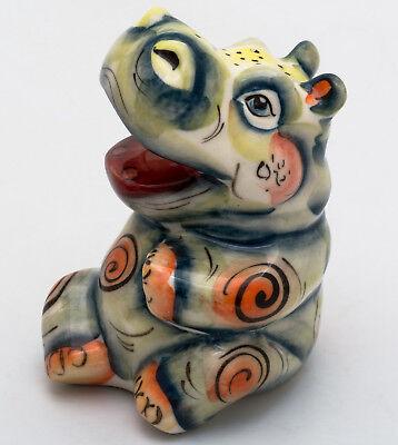 Hippopotamus Gzhel porcelain figurine hippo souvenir handmade and hand-painted