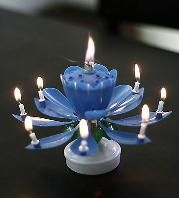Musical Candle Lotus Flower Rotating Candles Light Happy Birthday Party Gift LJ 12