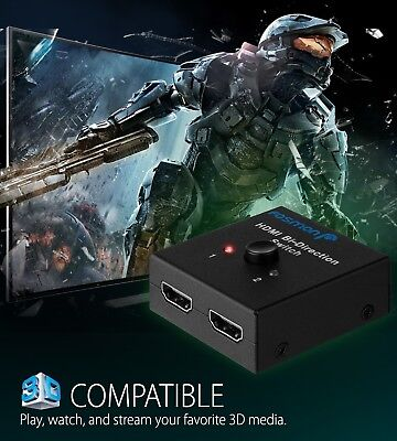 2x1 1x2 In Out UHD 4K Bi Direction HDMI 2.0 Switch Switcher Splitter Hub HDCP 3D 5