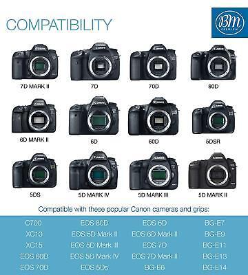 BM 2 LP-E6N Batteries & Dual Charger for Canon EOS-R 60D, 70D EOS 80D C700 XC15 5