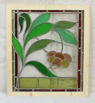 Antique Stained Glass Window Eight Colors of glass Ruby Bordered Bloom    (2638) 3