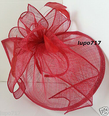 Red Sinamay Feathers Hat Fascinator Wedding Ascot Race Hen Party Ladies Day New 6