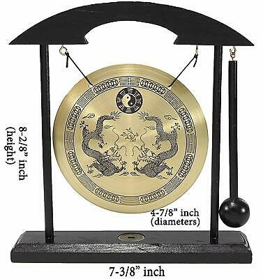 Zen Table Gong TaiChi Dragon Feng Shui Meditation Desk Bell Home Decor Gift USA 5