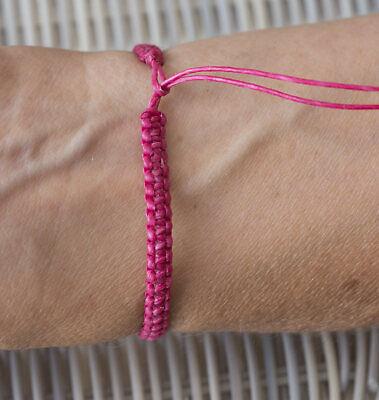 Bracelet bresilien amitie fil de coton cire tresse porte bonheur orange 8171