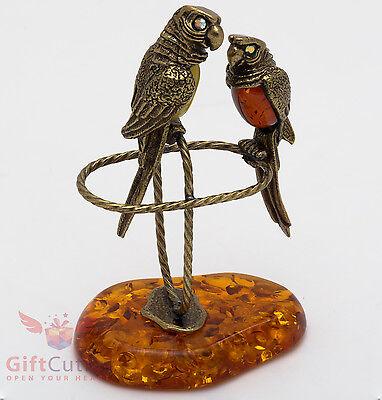 Solid Brass Amber Figurine of birds Mandarin Duck couple IronWork