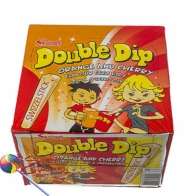 Double Dip Orange & Cherry 18 sachets x 19g Fizz Dips + Candy Stick from UK