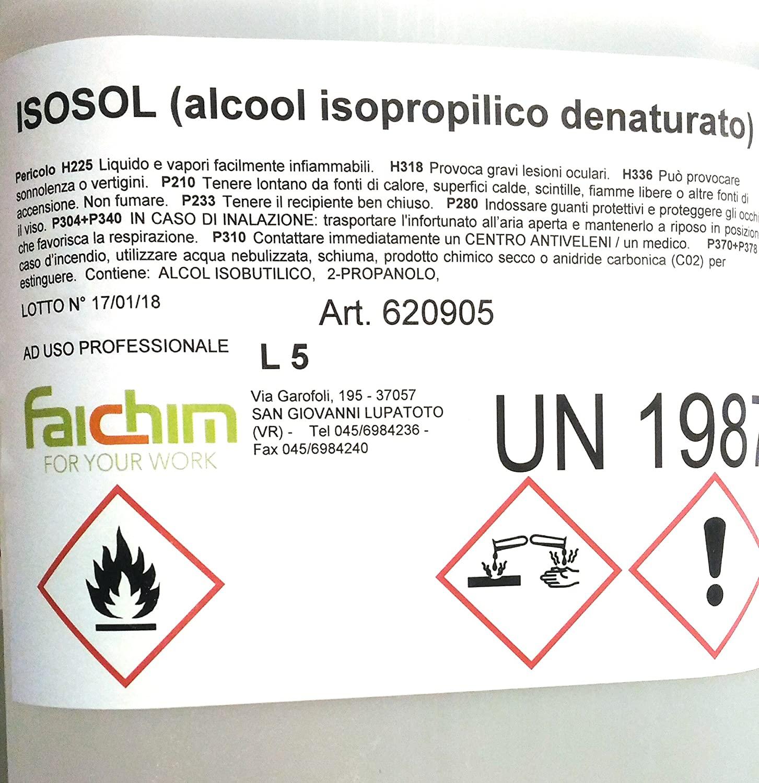 Alcool Isopropilico Bottiglia 5Lt Pulizia Plastica Vetri Ottiche Ossido Alcol 5