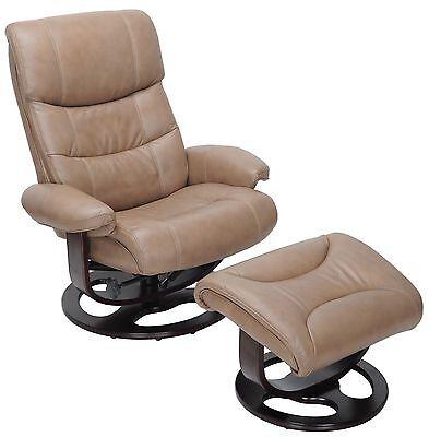 2 Of 4 Barcalounger Dawson Frampton Brown Leather Pedestal Recliner Chair  And Ottoman