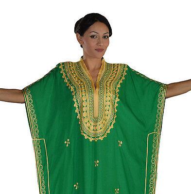 Moroccan Caftan Women kaftan Abaya Beach Cover Summer Long Dress Cotton Green