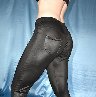 knackige wetlook LEGGINS mit Taschen* M 40 Leder-Look Leggings* Hose stretchig