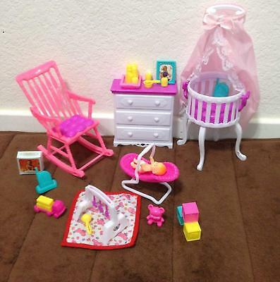 Gloria Barbie Size Dollhouse Furniture Baby Home Nursery Play Set 2