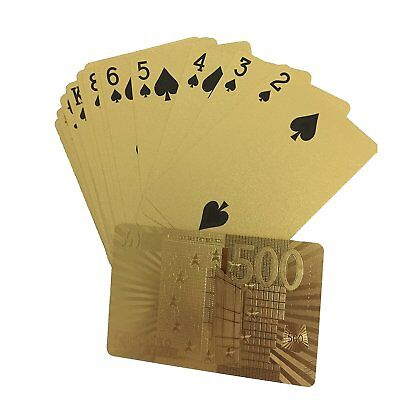 54 Playing Cards Vintage Waterproof 24k Gold Foil Plated Cover Poker Table Games 2