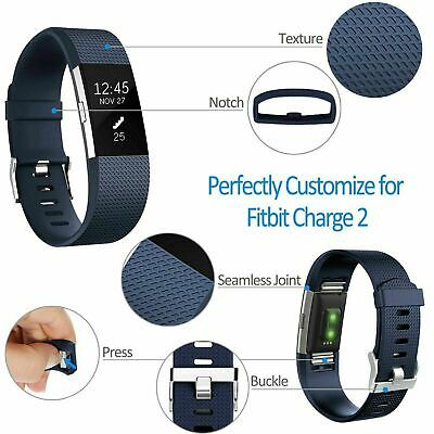 Fitbit Charge 2 Band Replacement Wristband Silicon Sports Watch Strap Metal Lot 8