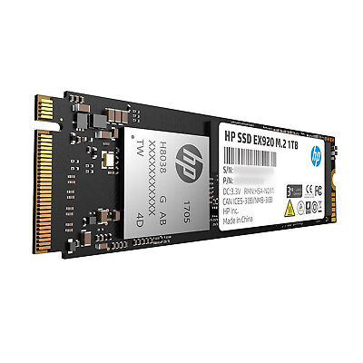 HP 2YY47AA#ABC EX920 M.2 1TB SSD PCIe 3.0 x4 NVMe 3D TLC NAND Solid State Drive 2