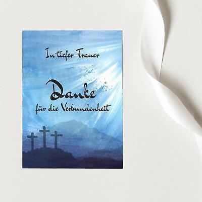 15 Trauer-Danksagungskarten Trauer-karten Umschlag edel Motiv Verbundenheit blau