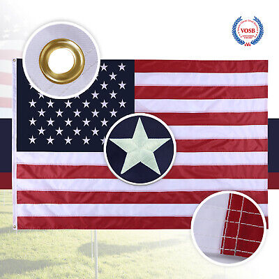 4X6 Ft American Flag US Flag United States Embroidered Stars  Brass Grommets 3