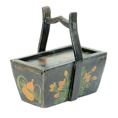 Small Antique Chinese Painted Food Utility Box, Black with Colorful Paintings 4
