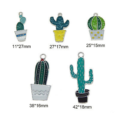5 pcs Mix Green Enamel Cactus Plants Charms Pendants Jewelry Crafts Accessories 6