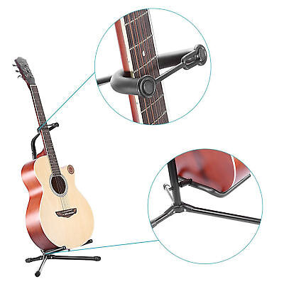New Folding Electric Acoustic Bass Tripod Guitar Padded Stand Floor Rack Holder 8