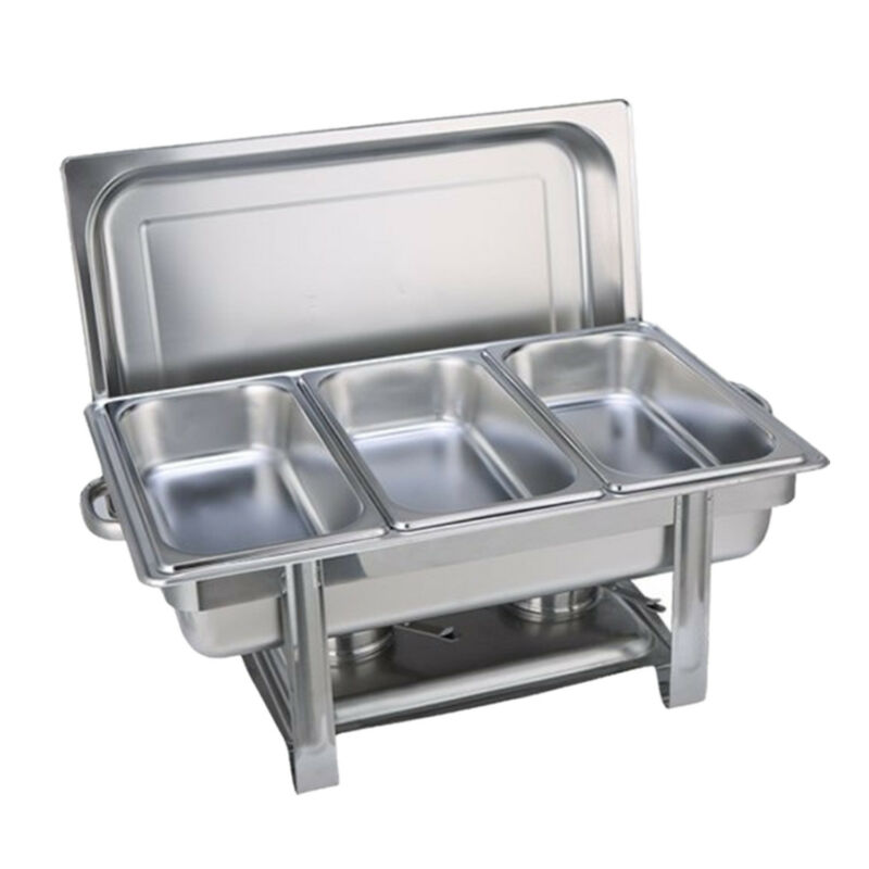 Bain Marie Bow Chafing Dishes Stainless Steel Buffet Warmer Stackable Set AU 4