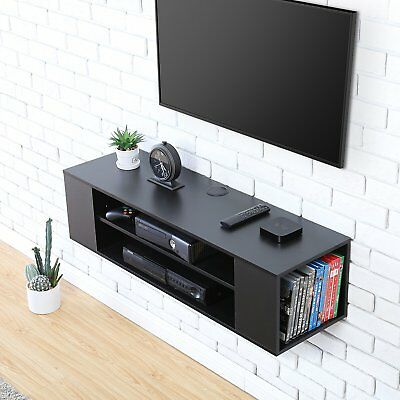 Black Media Console Floating Wall Mount Tv Stand Entertainment Unit