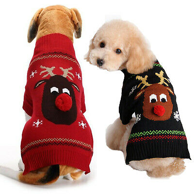 Small Large Christmas Dog Sweater Clothes Cute Knitted Jumper Apparel For Dog UK 12