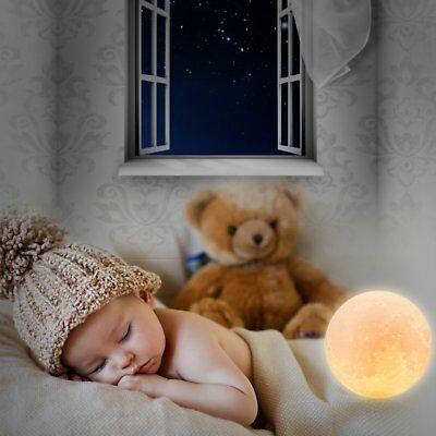 3D Printing Moon Lamp USB LED Night Light Moonlight Touch Color Changing 8-18CM 11