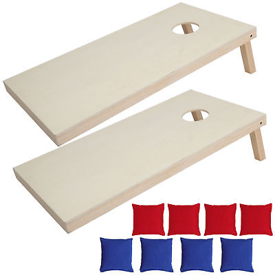 Unfinished Solid Wood Bean Bag Toss Cornhole Board Game Set  Size 4x2' 5