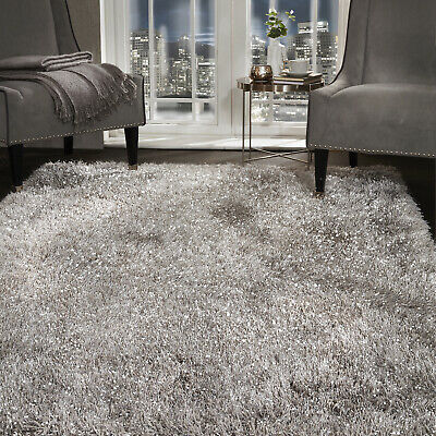 5.5cm Silver Grey Large SHAGGY Floor RUG Soft SPARKLE Shimmer Glitter Thick Pile 2