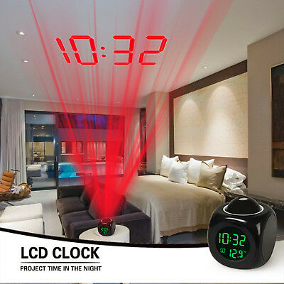 Alarm Clock LED Wall/Ceiling Projection LCD Digital Voice Talking Temperature 11