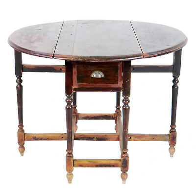 Antique Asian Chinese 42 inch Round Drop Leaf Gate Leg Table 2