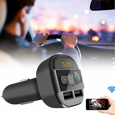 New Bluetooth Car Kit Wireless FM Transmitter Dual USB Charger Audio MP3 Player 4