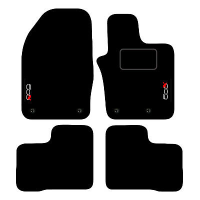 Fiat 500 2012 Fully Tailored 4 Piece Car Mat Set with 4 Clips